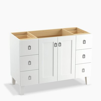 Poplin� 48 Vanity with Furniture Legs, 2 Doors and 6 Drawers Base Finish: Linen White