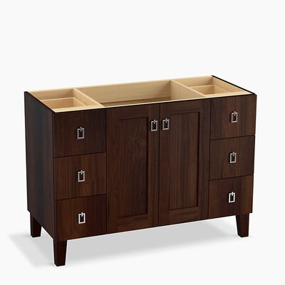 Poplin� 48 Vanity with Furniture Legs, 2 Doors and 6 Drawers Base Finish: Ramie Walnut