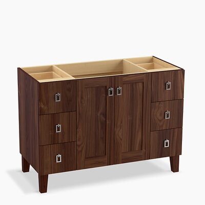 Poplin� 48 Vanity with Furniture Legs, 2 Doors and 6 Drawers Base Finish: Terry Walnut