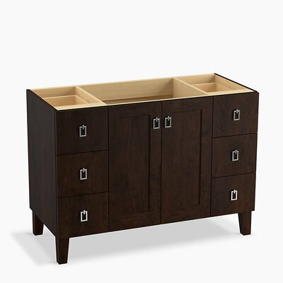 Poplin� 48 Vanity with Furniture Legs, 2 Doors and 6 Drawers Base Finish: Claret Suede
