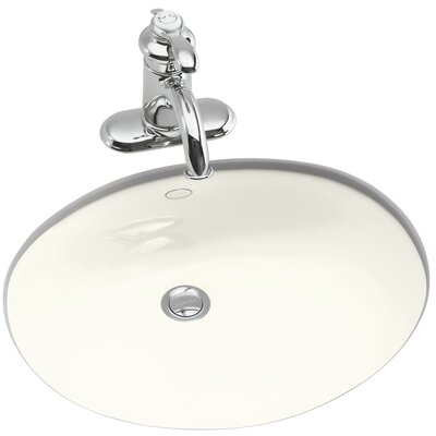 Caxton Oval Undermount Bathroom Sink with Overflow Finish: Biscuit