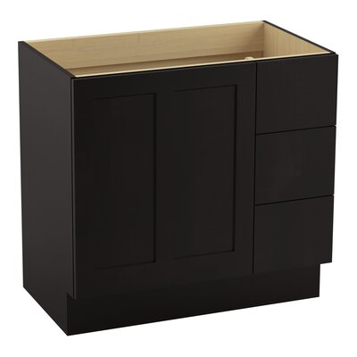 Poplin Tones 36 Vanity with Toe Kick, 1 Door and 3 Drawers on Right Finish: Batiste Black