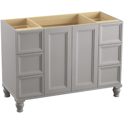 Damask 48 Vanity with Furniture Legs, 2 Doors and 6 Drawers Finish: Mohair Grey