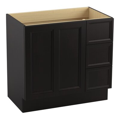 Damask 36 Vanity with Toe Kick, 1 Door and 3 Drawers on Right Finish: Batiste Black
