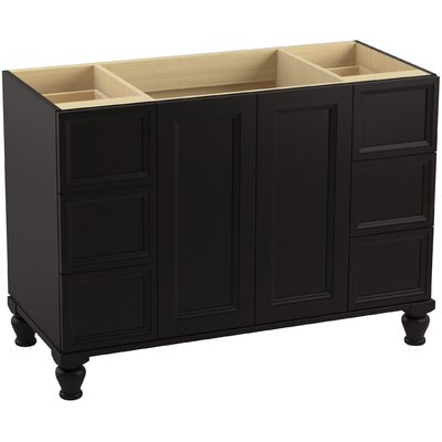 Damask� 48 Vanity with Furniture Legs, 2 Doors and 6 Drawers, Split Top Drawers Finish: Batiste Black