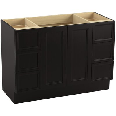 "Damask 48"" Vanity with Toe Kick, 2 Doors and 6 Drawers, Split Top Drawers Finish: Batiste Black"