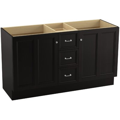 Damask 60 Vanity with Toe Kick, 2 Doors and 3 Drawers, Split Top Drawer Finish: Batiste Black