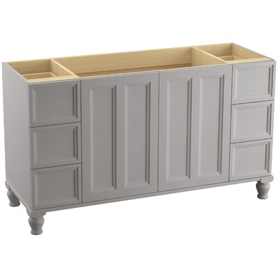 Damask� 60 Vanity with Furniture Legs, 2 Doors and 6 Drawers, Split Top Drawers Finish: Mohair Grey
