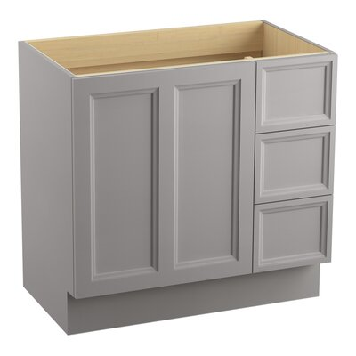 Damask 36 Vanity with Toe Kick, 1 Door and 3 Drawers on Right Finish: Mohair Grey