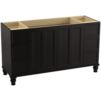 "Damask 60"" Vanity with Furniture Legs, 2 Doors and 6 Drawers Finish: Batiste Black"