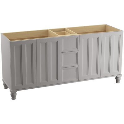 Damask 72 Vanity with Furniture Legs, 4 Doors and 3 Drawers, Split Top Drawer Finish: Mohair Grey