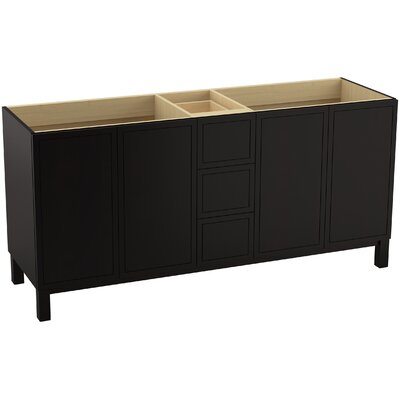 Jacquard 72 Vanity with Furniture Legs, 4 Doors and 3 Drawers Finish: Batiste Black