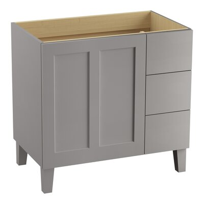 Poplin� 36 Vanity with Furniture Legs, 1 Door and 3 Drawers on Right Base Finish: Mohair Gray