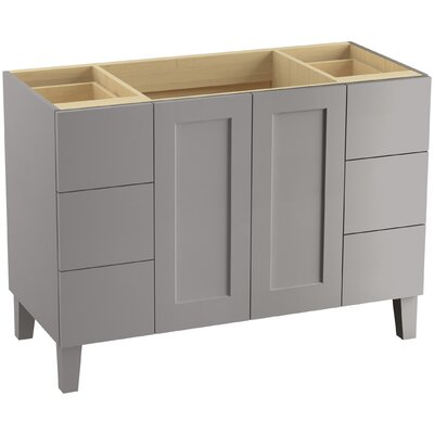 Poplin 48 Vanity with Furniture Legs, 2 Doors and 6 Drawers, Split Top Drawers Finish: Mohair Grey