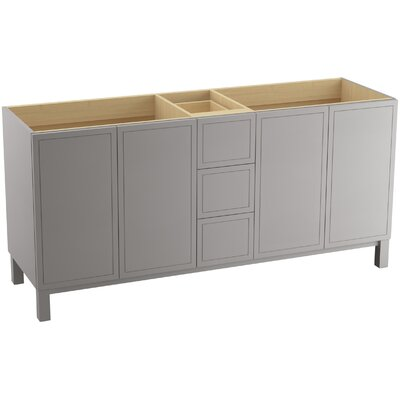 Jacquard 72 Vanity with Furniture Legs, 4 Doors and 3 Drawers, Split Top Drawer Finish: Mohair Grey