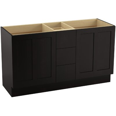 Poplin� 60 Vanity with Toe Kick, 2 Doors and 3 Drawers, Split Top Drawer Finish: Batiste Black