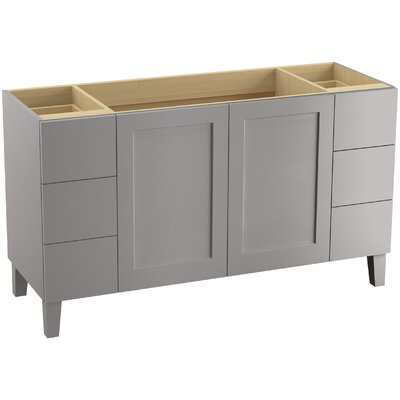 Poplin 60 Vanity with Furniture Legs, 2 Doors and 6 Drawers, Split Top Drawers Finish: Mohair Grey