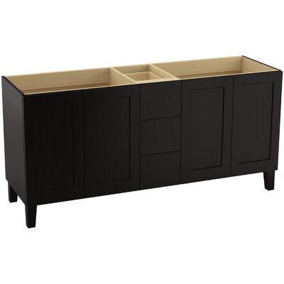 Poplin 72 Vanity with Furniture Legs, 4 Doors and 3 Drawers, Split Top Drawer Finish: Batiste Black