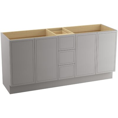 "Jacquard 72"" Vanity with Toe Kick, 4 Doors and 3 Drawers, Split Top Drawer Finish: Mohair Grey"