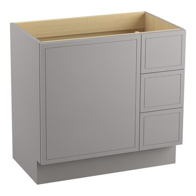 Jacquard 36 Vanity with Toe Kick, 1 Door and 3 Drawers on Right Finish: Mohair Grey