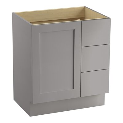 Poplin 30 Vanity with Toe Kick, 1 Door and 3 Drawers on Right Finish: Mohair Grey