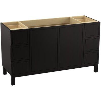 Jacquard 60 Vanity with Furniture Legs, 2 Doors and 6 Drawers, Split Top Drawers Finish: Batiste Black