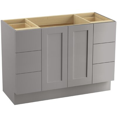 Poplin 48 Vanity with Toe Kick, 2 Doors and 6 Drawers, Split Top Drawers Finish: Mohair Grey