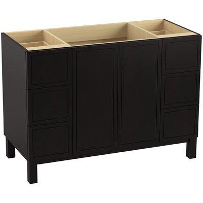 Jacquard 48 Vanity with Furniture Legs, 2 Doors and 6 Drawers Finish: Batiste Black