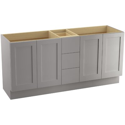 "Poplin 72"" Vanity with Toe Kick, 4 Doors and 3 Drawers, Split Top Drawer Finish: Mohair Grey"