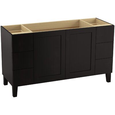 Poplin 60 Vanity with Furniture Legs, 2 Doors and 6 Drawers, Split Top Drawers Finish: Batiste Black