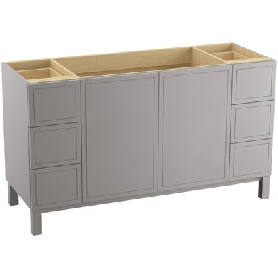 "Jacquard 60"" Vanity with Furniture Legs, 2 Doors and 6 Drawers Finish: Mohair Grey"