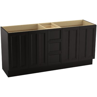 Damask� 72 Vanity with Toe Kick, 4 Doors and 3 Drawers, Split Top Drawer Finish: Batiste Black