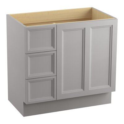 Damask 36 Vanity with Toe Kick, 1 Door and 3 Drawers on Left Finish: Mohair Grey