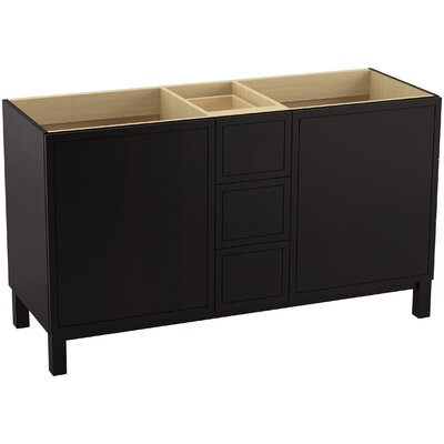 Jacquard 60 Vanity with Furniture Legs, 2 Doors and 3 Drawers, Split Top Drawer Finish: Batiste Black