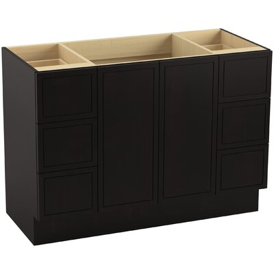 "Jacquard 48"" Vanity with Toe Kick, 2 Doors and 6 Drawers, Split Top Drawers Finish: Batiste Black"