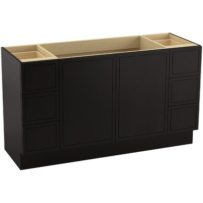 Jacquard 60 Vanity with Toe Kick, 2 Doors and 6 Drawers, Split Top Drawers Finish: Batiste Black