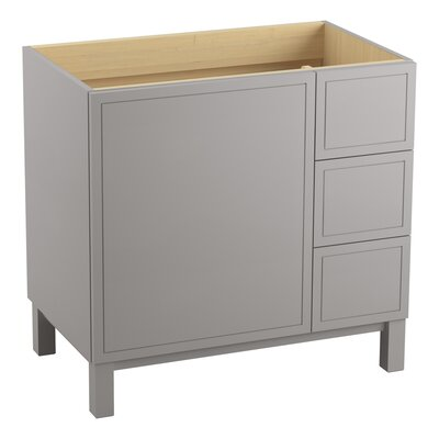Jacquard� 36 Vanity with Furniture Legs, 1 Door and 3 Drawers on Right Finish: Mohair Grey