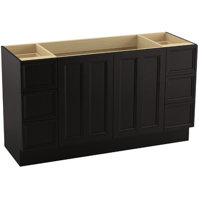 Damask 60 Vanity with Toe Kick, 2 Doors and 6 Drawers, Split Top Drawers Finish: Batiste Black