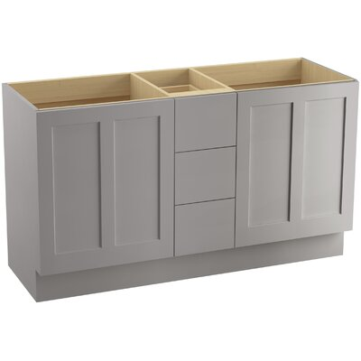 "Poplin 60"" Vanity with Toe Kick, 2 Doors and 3 Drawers, Split Top Drawer Finish: Mohair Grey"