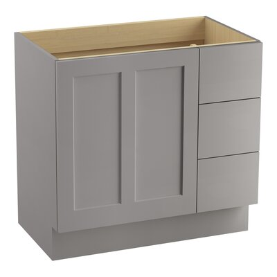 Poplin 36 Vanity with Toe Kick, 1 Door and 3 Drawers on Right Finish: Mohair Grey