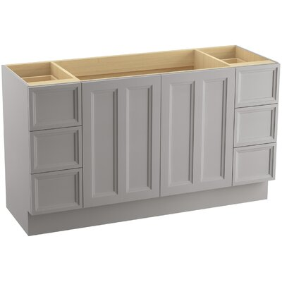 Damask 60 Vanity with Toe Kick, 2 Doors and 6 Drawers, Split Top Drawers Finish: Mohair Grey