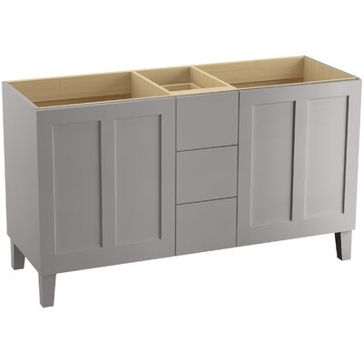 Poplin 60 Vanity with Furniture Legs, 2 Doors and 3 Drawers, Split Top Drawer Finish: Mohair Grey