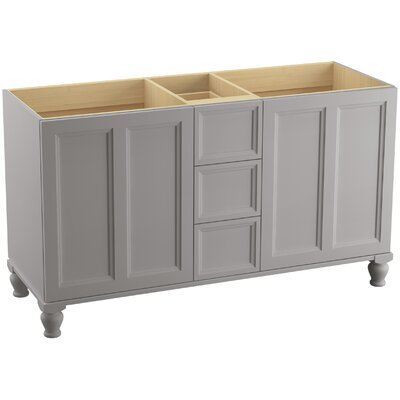 Damask 60 Vanity with Furniture Legs, 2 Doors and 3 Drawers, Split Top Drawer Finish: Mohair Grey