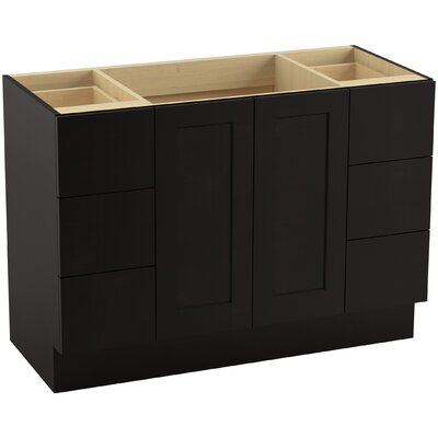 Poplin� 48 Vanity with Toe Kick, 2 Doors and 6 Drawers, Split Top Drawers Finish: Batiste Black