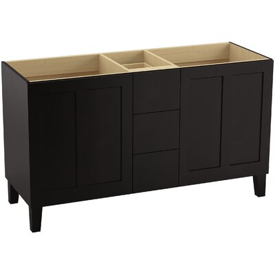"Poplin 60"" Vanity with Furniture Legs, 2 Doors and 3 Drawers Finish: Batiste Black"