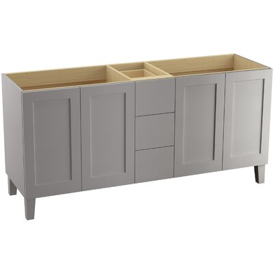 "Poplin 72"" Vanity with Furniture Legs, 4 Doors and 3 Drawers Finish: Mohair Grey"
