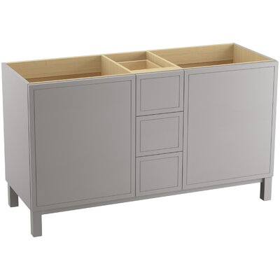 Jacquard 60 Vanity with Furniture Legs, 2 Doors and 3 Drawers, Split Top Drawer Finish: Mohair Grey