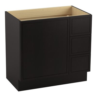 Jacquard� 36 Vanity with Toe Kick, 1 Door and 3 Drawers on Right Finish: Batiste Black