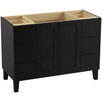 Poplin Tones 48 Vanity with Furniture Legs, 2 Doors and 6 Drawers, Split Top Drawers Finish: Batiste Black