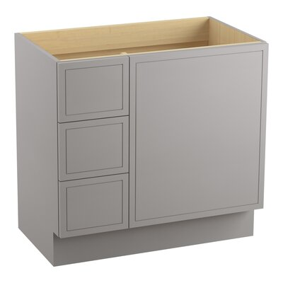 Jacquard 36 Vanity with Toe Kick, 1 Door and 3 Drawers on Left Finish: Mohair Grey